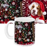 Кружка подарок с принтом Новый год Собака