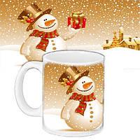 Кружка подарок с принтом Новый год Снеговик 656579542