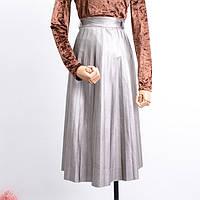 Женская кожаная юбка миди