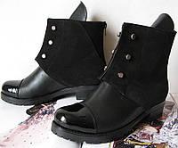 Кожаные женские демисезонные ботинки Hermess весна осень черного цвета обувь кэжл лак замш