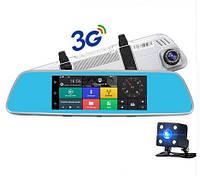 """Автомобильный Регистратор зеркало DVR T518 Silver 7"""" сенсор, 2 камеры, GPS+ WiFi, 8Gb, Android, 3G + ОБЗОР"""
