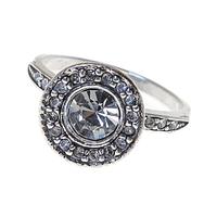 """Кольцо """"Лоо"""" с кристаллами Swarovski, покрытое серебром (d4763000)"""