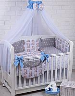 Комплект постельного белья Asik Котики с голубыми бантами 8 предметов (8-272)