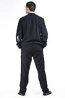 Костюм спортивный мужской флис черный с кожаными вставками