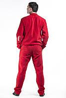 Костюм спортивный мужской флис красный с кожаными вставками