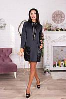 Темно-серое короткое платье-туника с кожаными карманами. Арт-4062/62