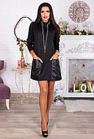 Черное короткое платье-туника с кожаными карманами. Арт-4062/62