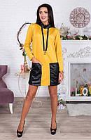 Желтое короткое платье-туника с кожаными карманами. Арт-4062/62