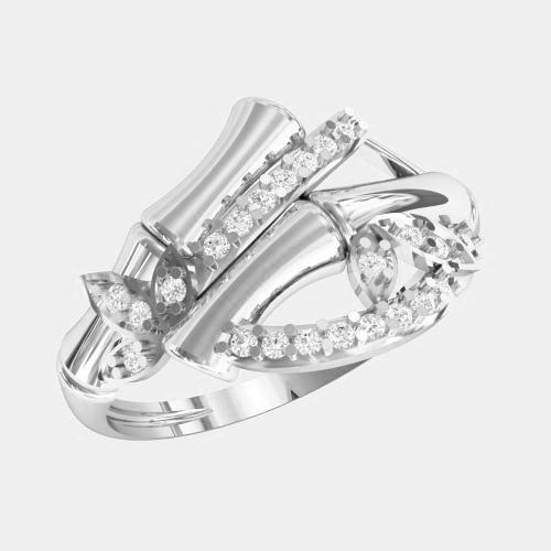 Кольцо  женское серебряное Бамбук KE-1355