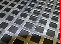 Лист перфорированный  оцинкованный  с квадратними  отверстиями  10*10 шаг 15 толщина  1,0 мм размер  1000*2000, фото 1