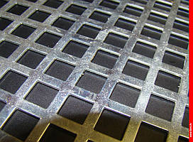 Лист перфорированный  оцинкованный  с квадратними  отверстиями  10*10 шаг 15 толщина  1,0 мм размер  1000*2000