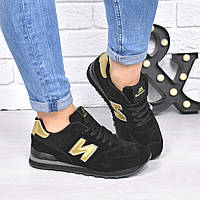 Кроссовки женские New Balance черный + золото 4274 , спортивная обувь