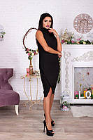 Черное платье миди с коротким рукавом и воротником американка. Арт-4064/62