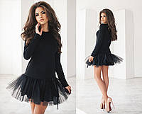 Шикарное женское платье французский трикотаж+фатин