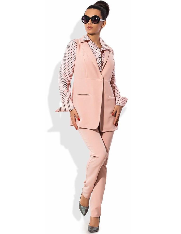 Персиковый костюм двойка: жилет и брюки
