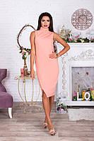 Персиковое нежное платье миди с коротким рукавом и воротником американка. Арт-4064/62