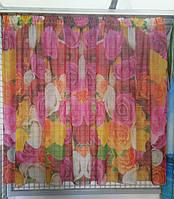 """Фото Тюль для кухни """"Разноцветные розы"""", 1,45м, 2,78м, тесьма"""