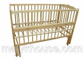 Дитяче ліжко Дубок (маятник, відкидний бік, натуральний колір)