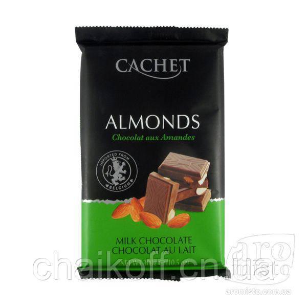 Шоколад молочный премиум с кусочками миндаля CACHET Milk Chocolate with Almonds, 300 г