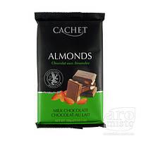 Шоколад молочный премиум с кусочками миндаля CACHET Milk Chocolate with Almonds, 300 г, фото 1