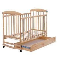 """Детская кровать-качалка с шухлядкой """"Наталка"""" №13, ольха светлая"""