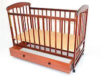 """Детская кровать-качалка с шухлядкой """"Наталка"""" №13, ольха темная"""