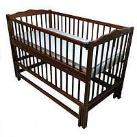 Детская кроватка Дубок (маятник, откидной бок, цвет орех, тик)