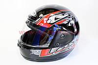Шлем закрытый HF-101 S- ЧЕРНЫЙ с красным рисунком