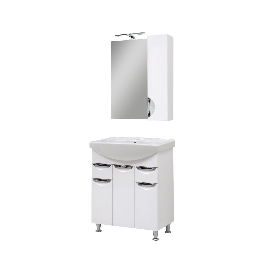 Мини-комплект мебели для ванной комнаты Оскар70 с зеркалом Юввис