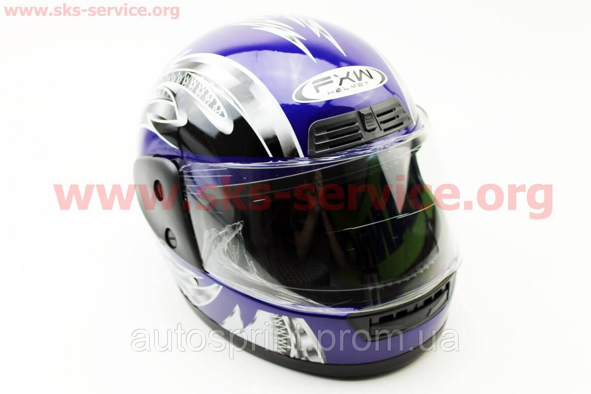 Шлем закрытый HF-109 S- СИНИЙ с рисунком Q24