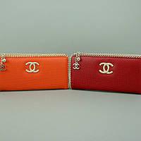 Кошелек клатч на змейке кожаный женский оранжевый Chanel 0820