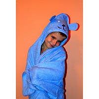 Полотенце уголок с каппюшоном Мишка, махра,92х92 см. голубое
