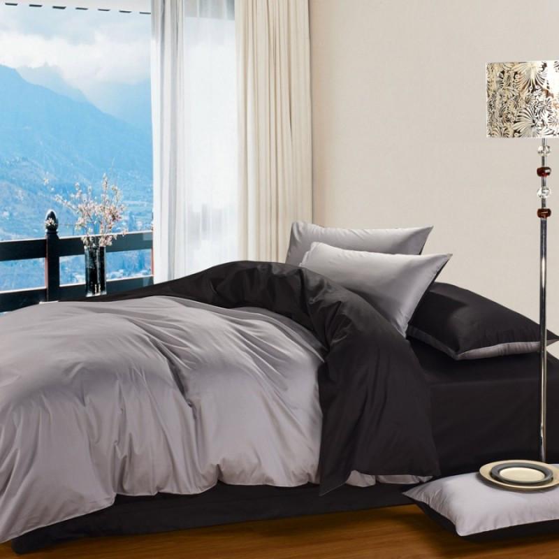 Постельное белье Сатин BLACK+LIGHT GREY ТМ Царский дом  (Двуспальный)