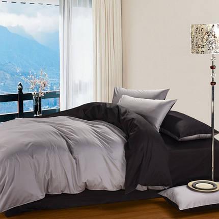Постельное белье Сатин BLACK+LIGHT GREY ТМ Царский дом  (Двуспальный), фото 2