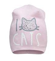 Шапочка I love cats розовая