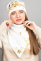 Шапка с вышивкой (белая)