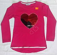 """Кофточка-туника с меняющими цвет пайетками """"Сердце"""" для девочки 8-10 лет."""
