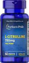 L- Цитрулин Puritan's Pride L-Citrulline 750mg Free Form 60 Capsules