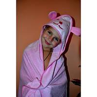 Полотенце уголок с капюшоном Мишка, махра 92х92 см. розовое
