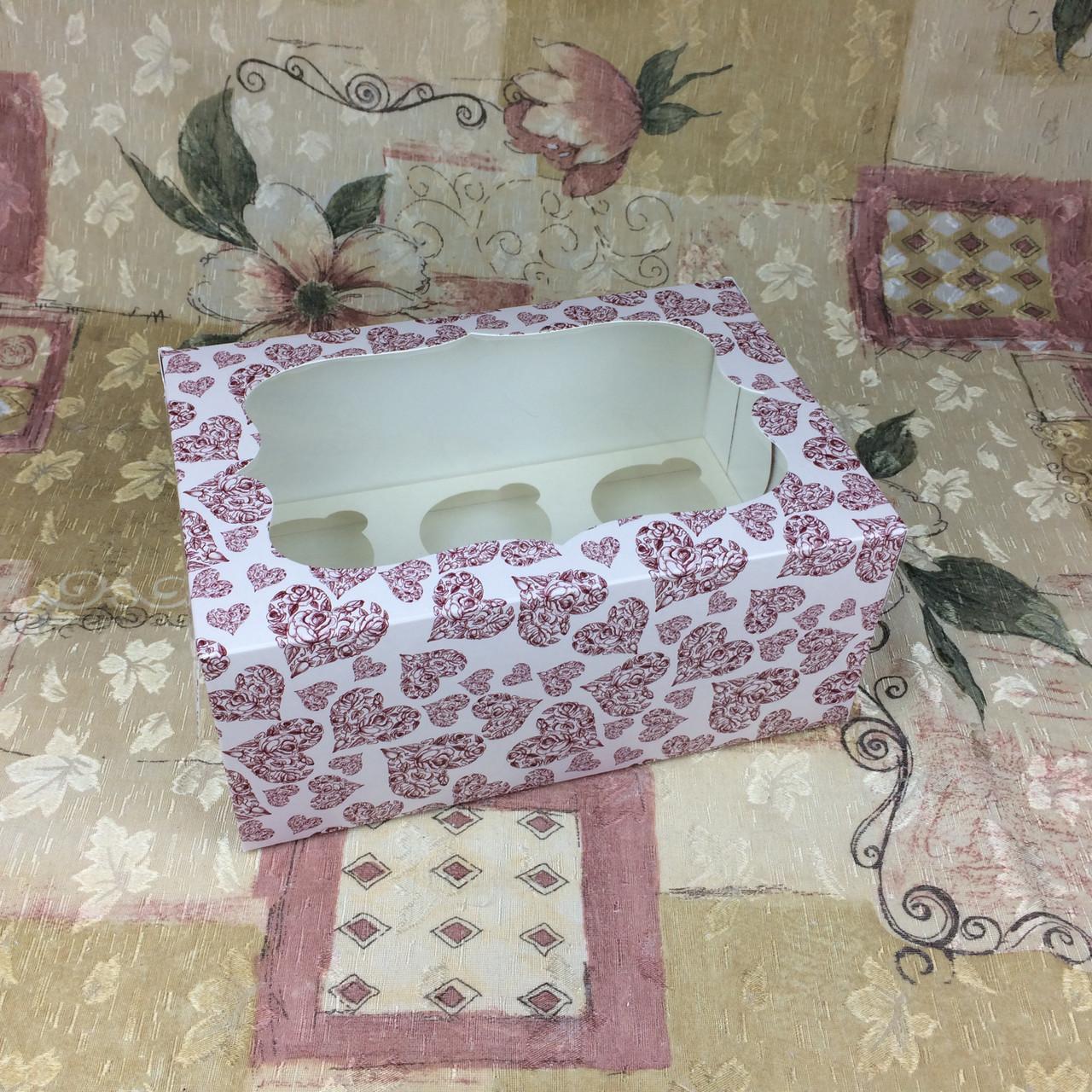 Коробка для 6-ти кексов / 250х170х110 мм / печать-Сердц.Красн / окно-обычн / лк