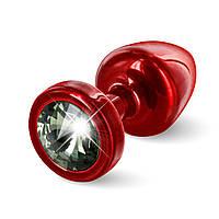 Анальная пробка со стразом Diogol ANNI round red Карбонадо 25мм