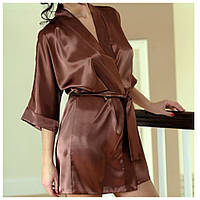 Сатиновый халат DKaren, коричневый