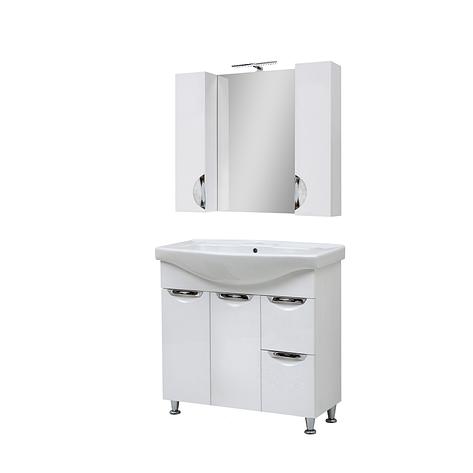Мини-комплект мебели для ванной комнаты Оскар 95 Т-19 с зеркалом Юввис, фото 2