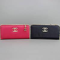 Клатч на змейке кошелек кожаный женский розовый Chanel 0820