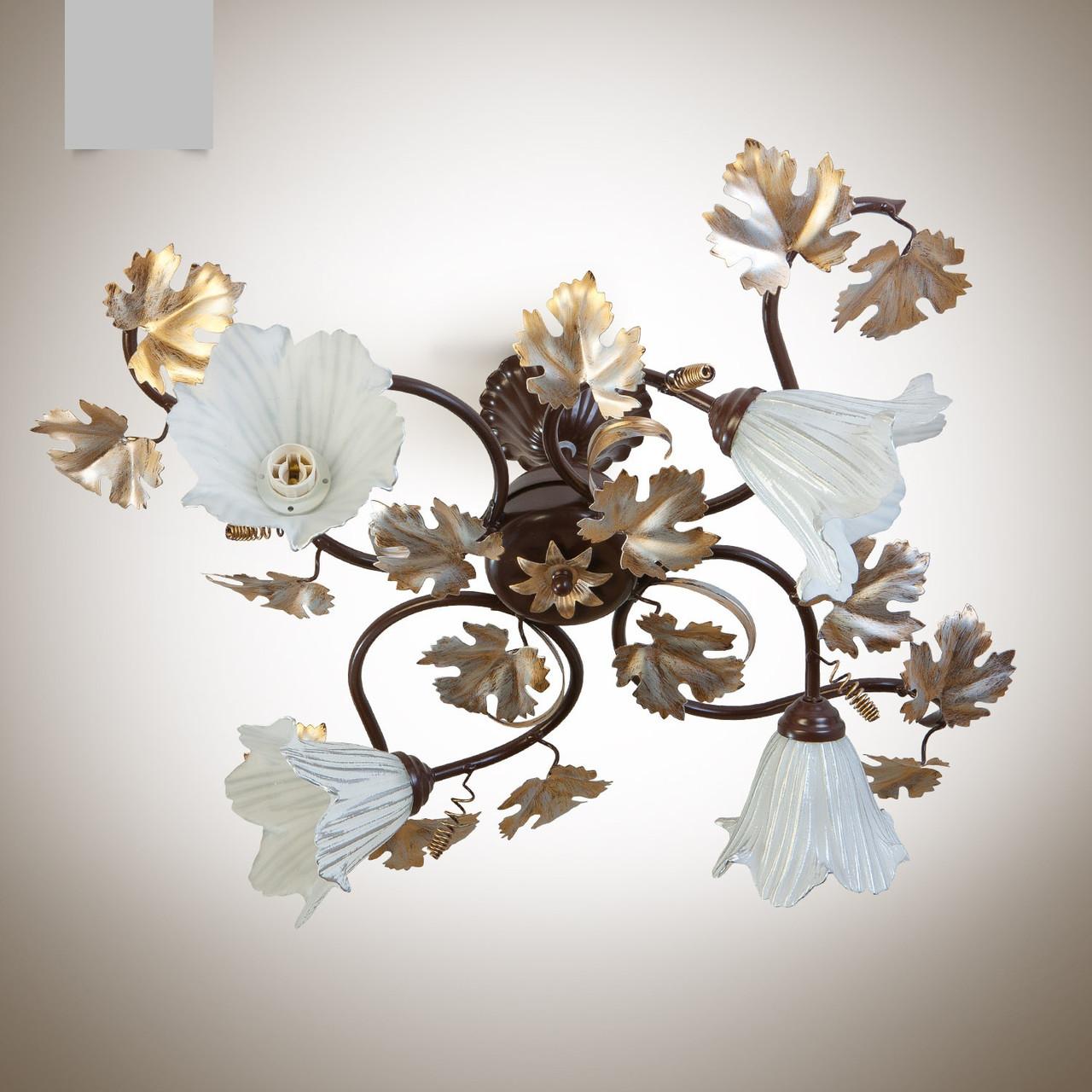 Люстра в стиле флористика с виноградными листьями потолочная на 4 лампы для спальни, кухни, зала 814