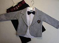 Костюм — трикотаж 1-3 лет. Штаны, рубашка, жакет с бантиком