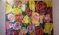"""Фото комплект для кухни """"Разноцветные розы"""" (шторы + скатерть)"""
