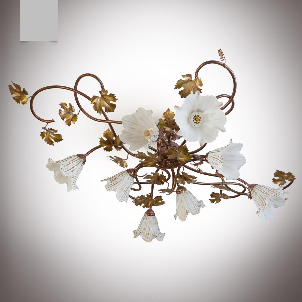 Люстра для большой комнаты 8-ми ламповая в стиле флористика с виноградными листьями 818-1