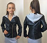 Моднячая куртка косуха на девочку эко-кожа черная