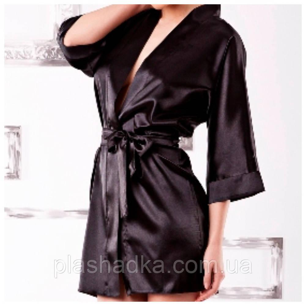 Сатиновый халат DKaren, черный